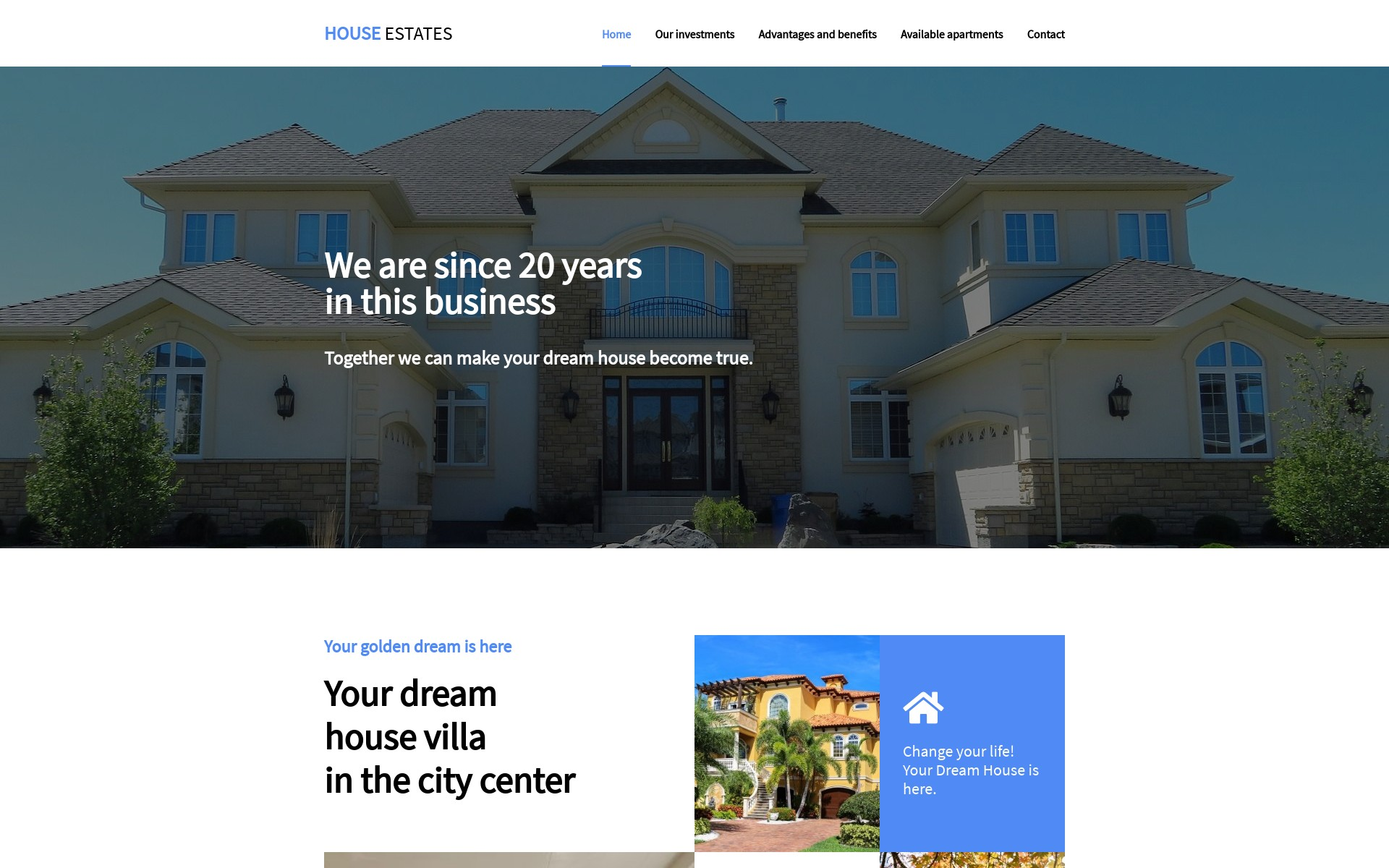 Screenshot of the project House Estates Website