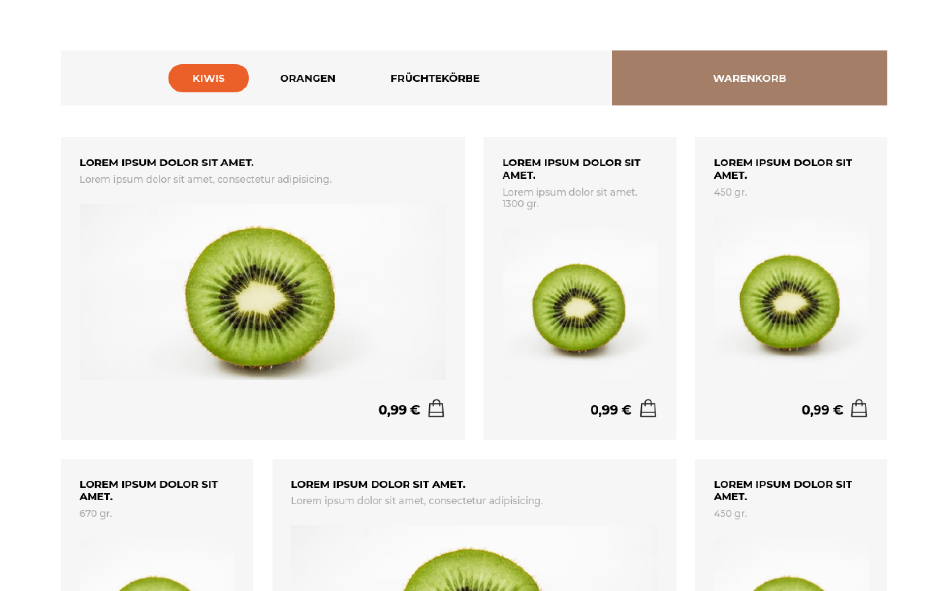 Screenshot of the project Fruitsshop