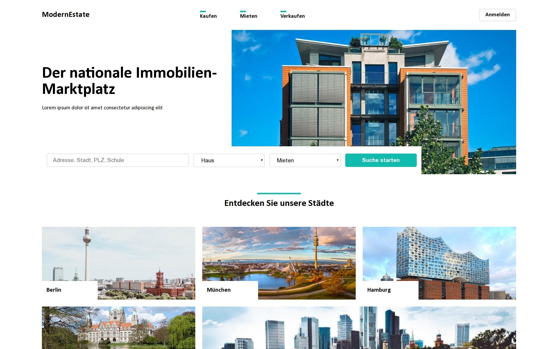 Screenshot of the project Modern Estate