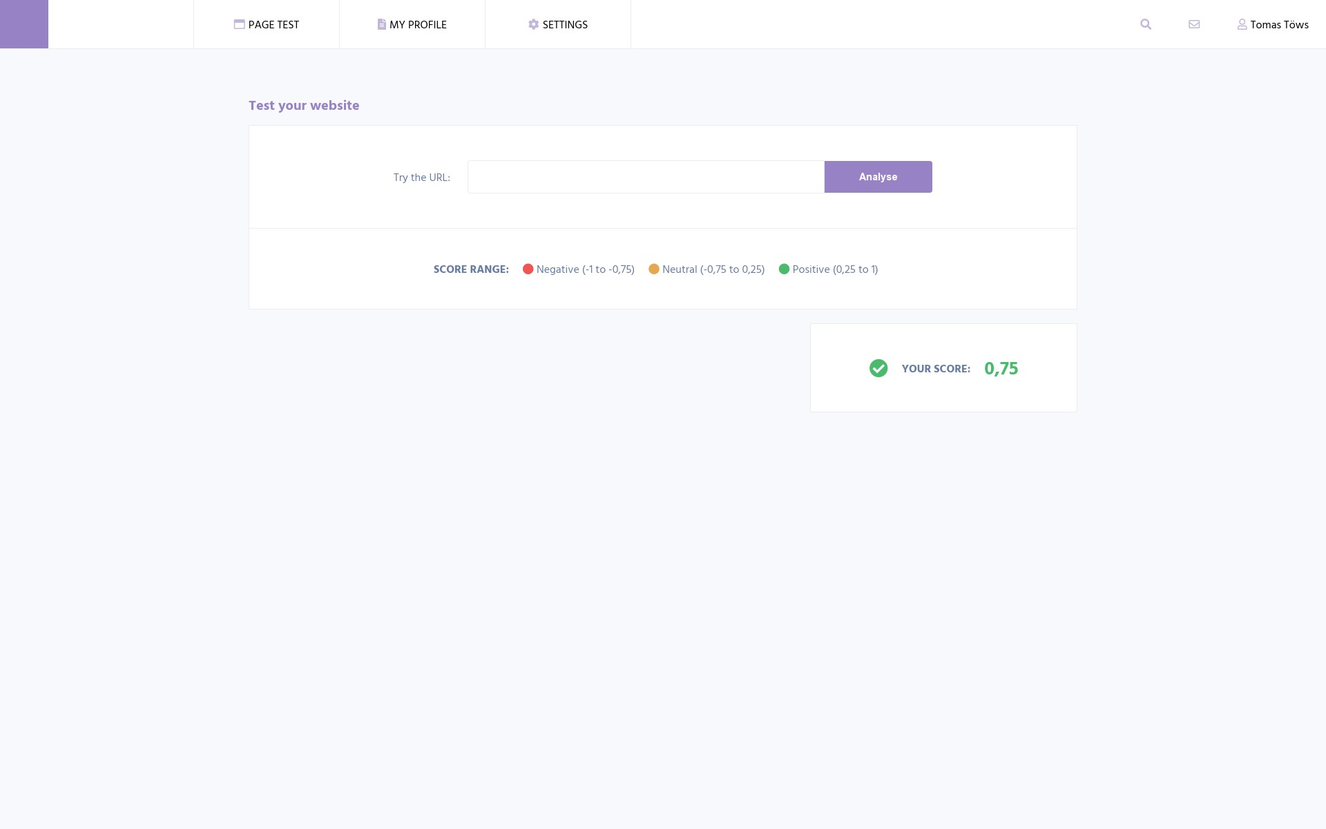Screenshot of the project Sitecheck