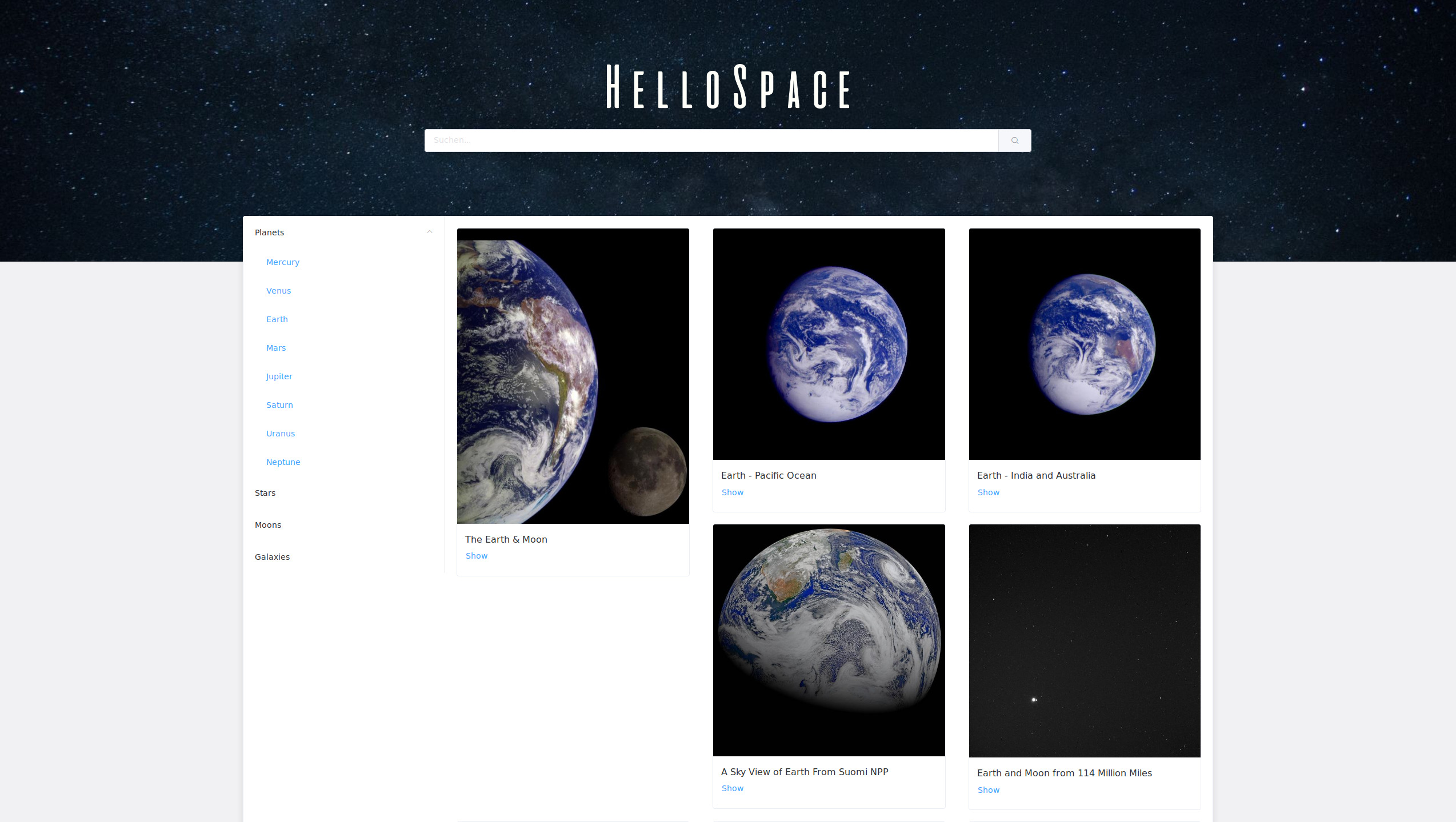Screenshot of the project HelloSpace
